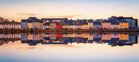 Panorma sunset view of Galway City