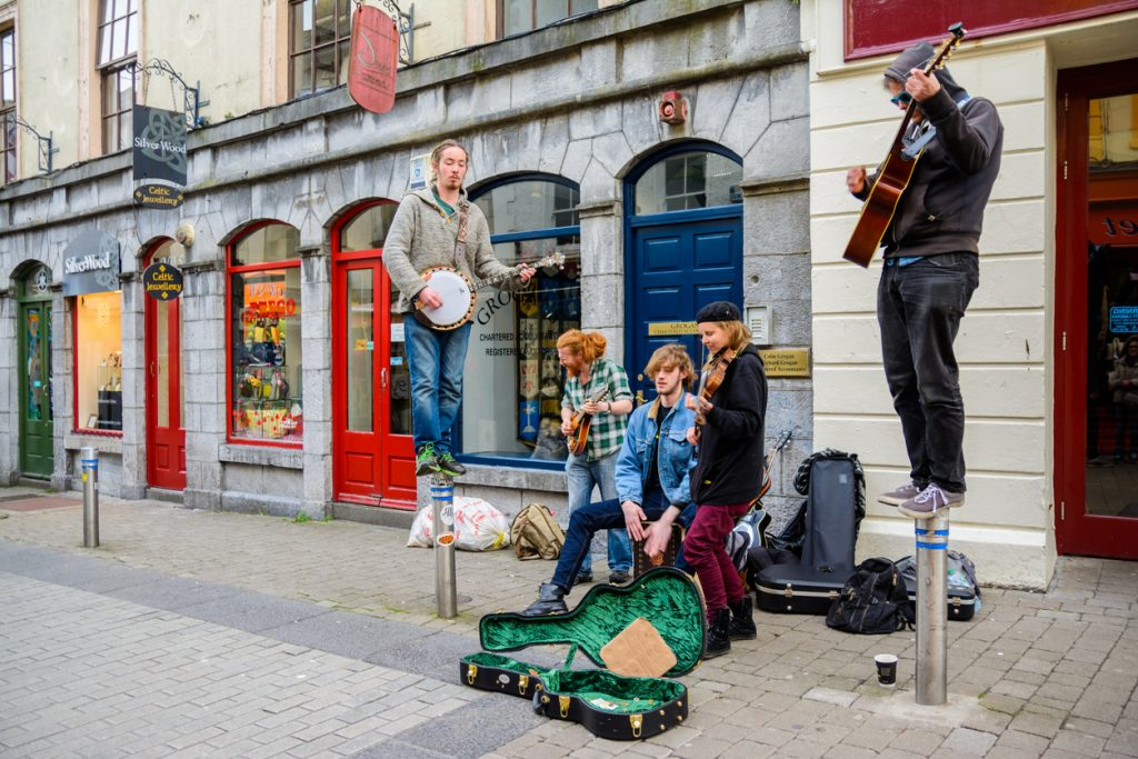 Irish people playing music on Galway streets